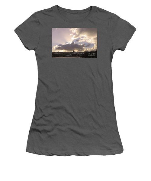 Women's T-Shirt (Junior Cut) featuring the photograph Sunbeams Over Church In Color by Nicholas Burningham