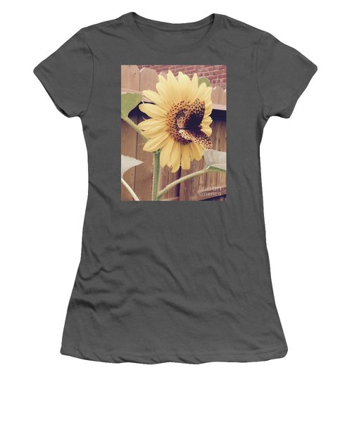 Sunflower And Butterfly Women's T-Shirt (Athletic Fit)