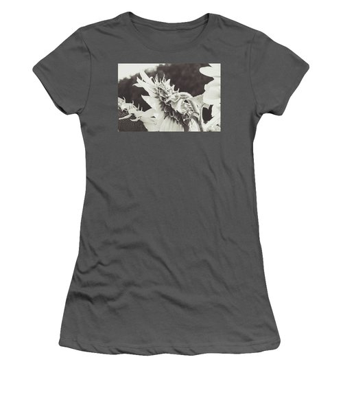 Women's T-Shirt (Athletic Fit) featuring the photograph Sunflower Black And White by Andrea Anderegg