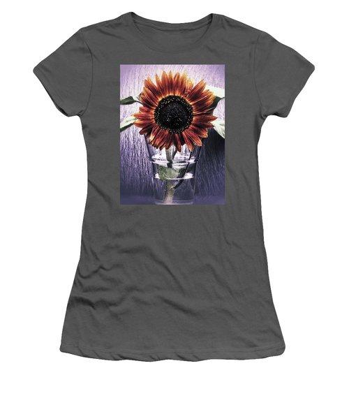 Women's T-Shirt (Junior Cut) featuring the photograph Sunflower In A Cup by Karen Stahlros