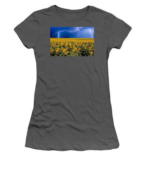 Sunflower Lightning Field  Women's T-Shirt (Athletic Fit)