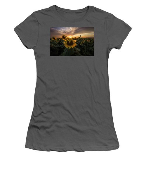 Women's T-Shirt (Athletic Fit) featuring the photograph Sunflower Sunstar  by Aaron J Groen