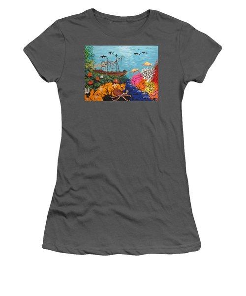 Sunken Treasure Ship Women's T-Shirt (Athletic Fit)