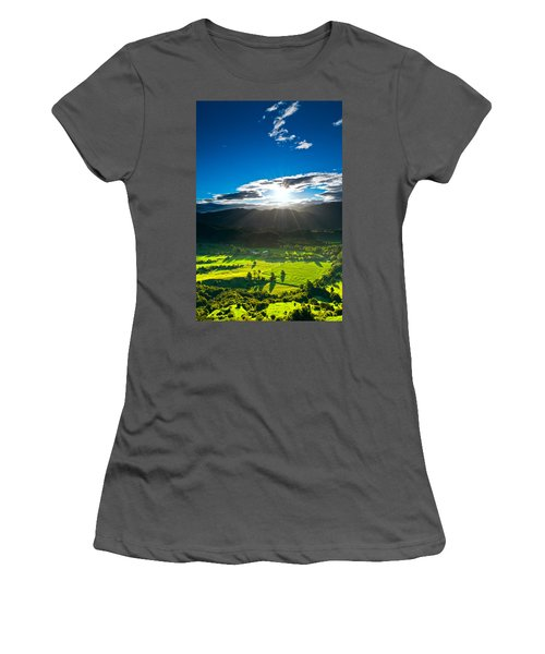 Sunrays Flood Farmland During Sunset Women's T-Shirt (Athletic Fit)