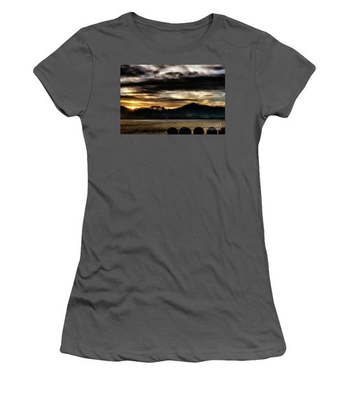 Women's T-Shirt (Junior Cut) featuring the photograph Sunrise And Hay Bales by Thomas R Fletcher