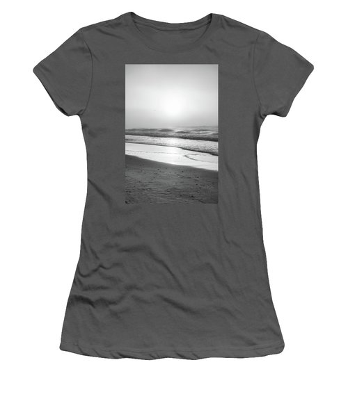 Women's T-Shirt (Junior Cut) featuring the photograph Sunrise At Beach Black And White  by John McGraw
