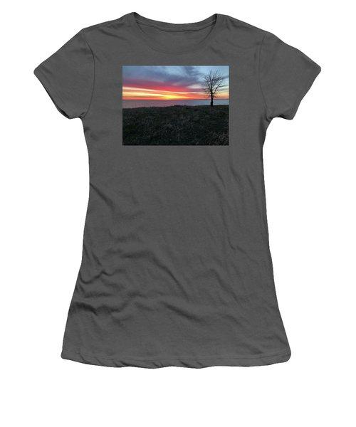 Sunrise At Lake Sakakawea Women's T-Shirt (Athletic Fit)