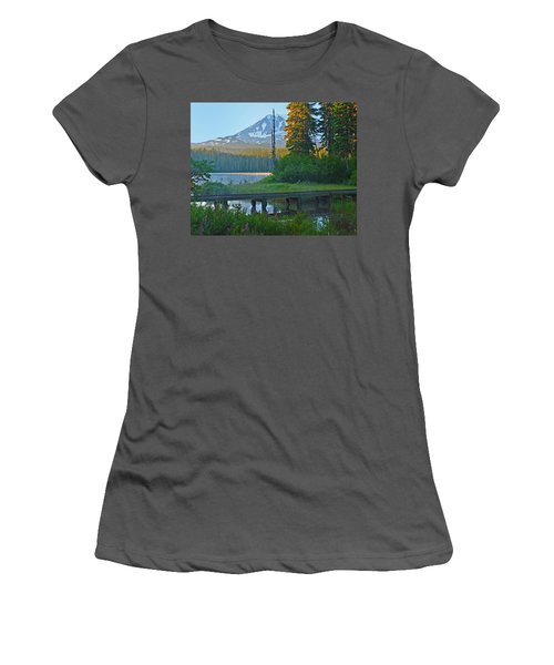 Women's T-Shirt (Junior Cut) featuring the photograph Sunrise At Takhlakh Lake Under Mt Adams by Jack Moskovita