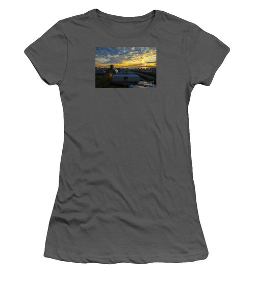 Women's T-Shirt (Junior Cut) featuring the photograph Sunrise In Osaka by Pravine Chester