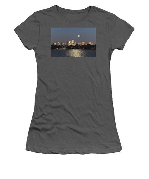 Women's T-Shirt (Junior Cut) featuring the photograph Sunrise Moon Over Miami by Gary Dean Mercer Clark