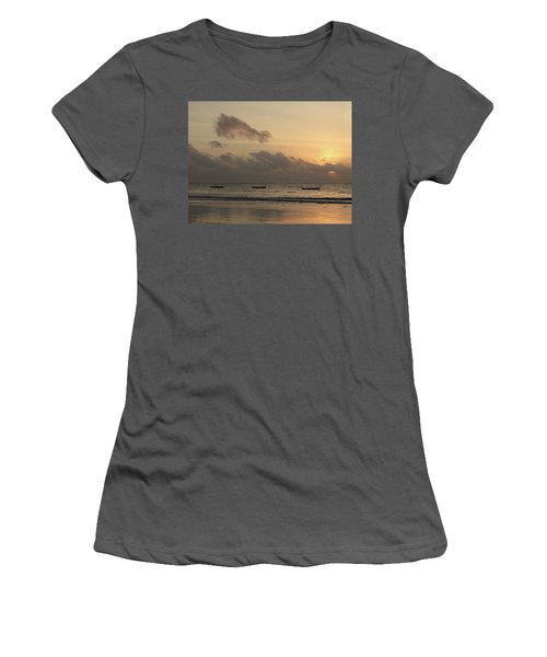 Sunrise On The Beach With Wooden Dhows Women's T-Shirt (Athletic Fit)