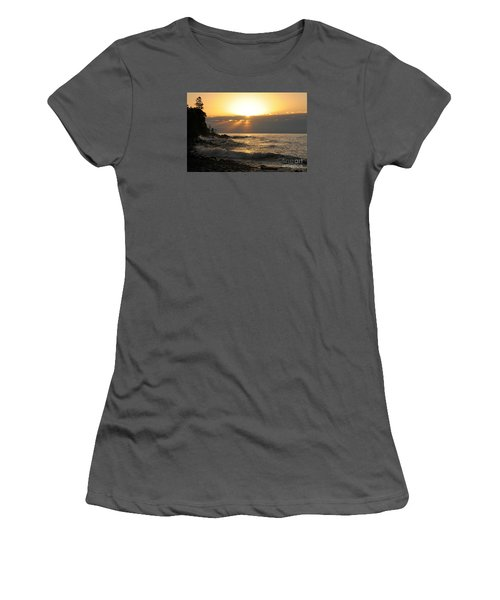 Women's T-Shirt (Junior Cut) featuring the photograph Sunrise On The Point by Sandra Updyke
