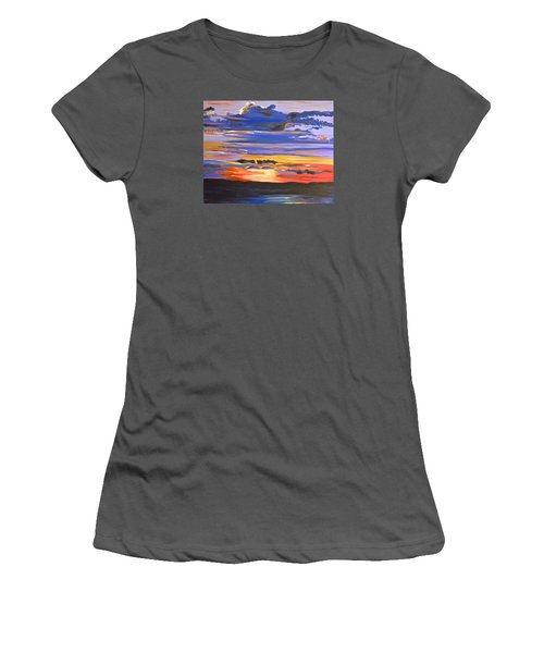Women's T-Shirt (Junior Cut) featuring the painting Sunset #5 by Donna Blossom