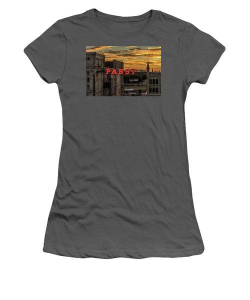 Sunset At The Brewery Women's T-Shirt (Junior Cut) by Randy Scherkenbach