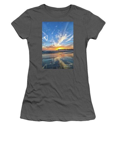 Sunset At The Pismo Beach Pier Women's T-Shirt (Junior Cut) by Vivian Krug Cotton