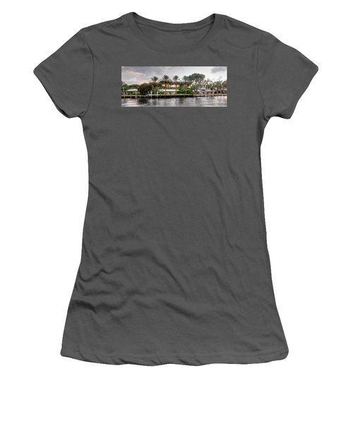 Sunset Behind Residential Palms Women's T-Shirt (Athletic Fit)