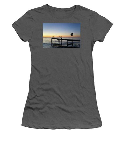 Women's T-Shirt (Junior Cut) featuring the photograph Sunset By The Old Bath Pier by Kennerth and Birgitta Kullman