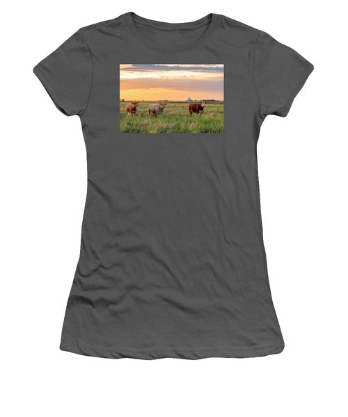 Sunset Cattle Women's T-Shirt (Athletic Fit)