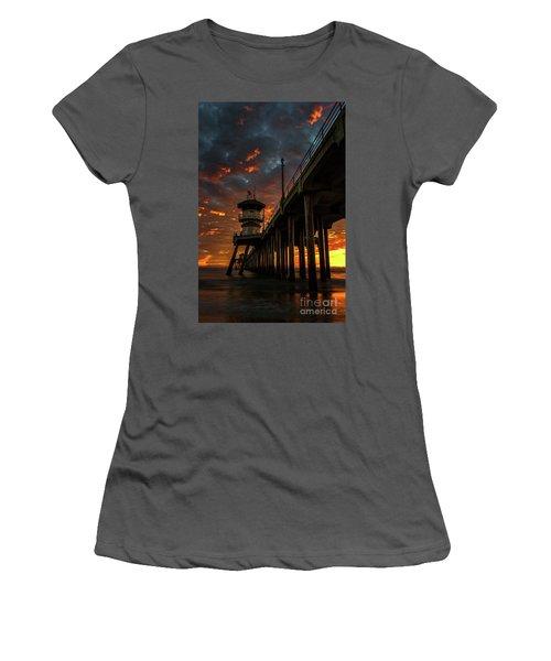 Sunset Huntington Beach Pier Women's T-Shirt (Athletic Fit)