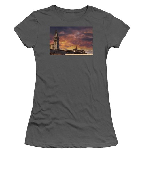 Sunset Over Port Of San Francisco Ferry Building Women's T-Shirt (Athletic Fit)