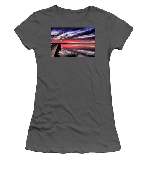 Women's T-Shirt (Junior Cut) featuring the photograph Sunset Reflections by Phil Mancuso