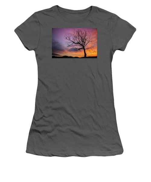 Women's T-Shirt (Athletic Fit) featuring the photograph Sunset Tree by Darren White