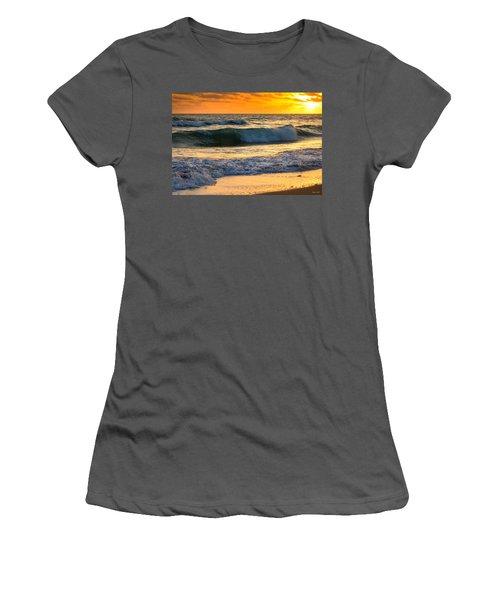 Women's T-Shirt (Junior Cut) featuring the photograph Sunset Waves by Rebecca Hiatt