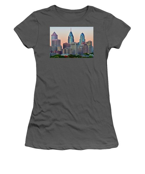 Women's T-Shirt (Junior Cut) featuring the photograph Sunsets Glow In Philly by Frozen in Time Fine Art Photography