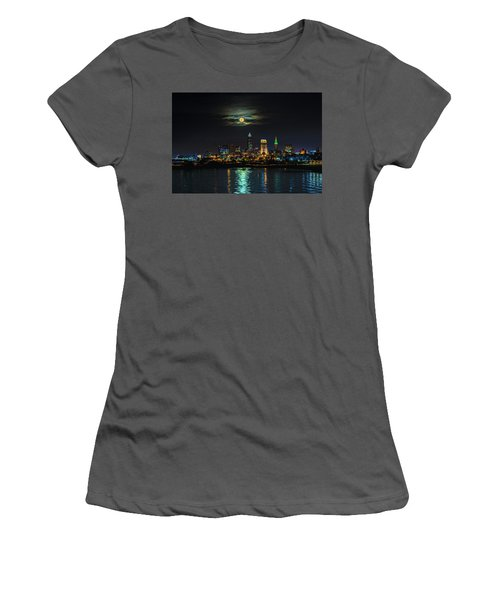 Super Full Moon Over Cleveland Women's T-Shirt (Athletic Fit)