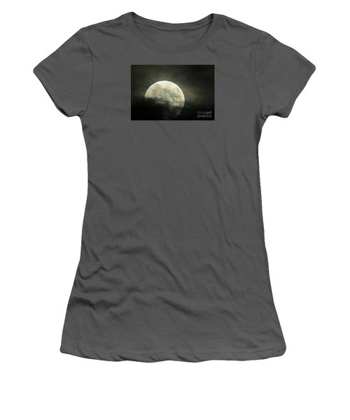 Super Moon In Clouds Women's T-Shirt (Athletic Fit)