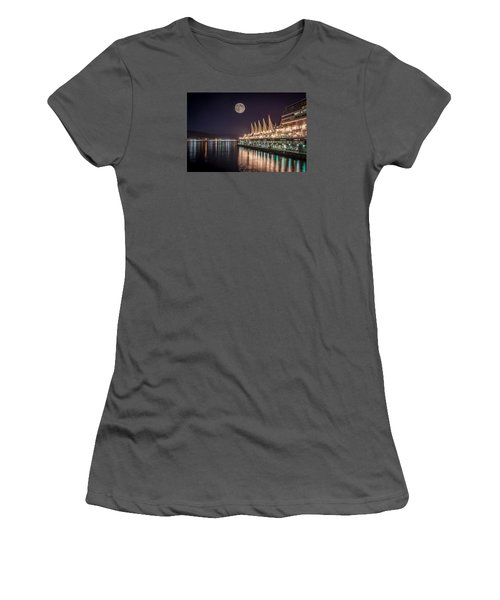 Super Moon Over Canada Place Women's T-Shirt (Athletic Fit)