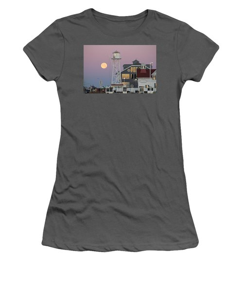 Super Wolf Moon At The Watch Tower Women's T-Shirt (Athletic Fit)