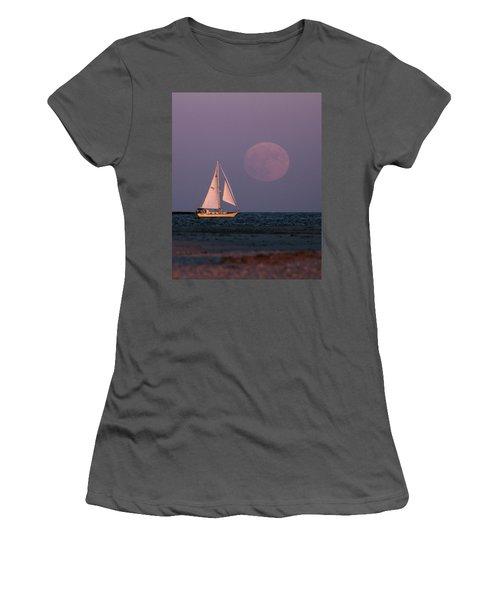 Supermoon Two Women's T-Shirt (Junior Cut) by John Loreaux