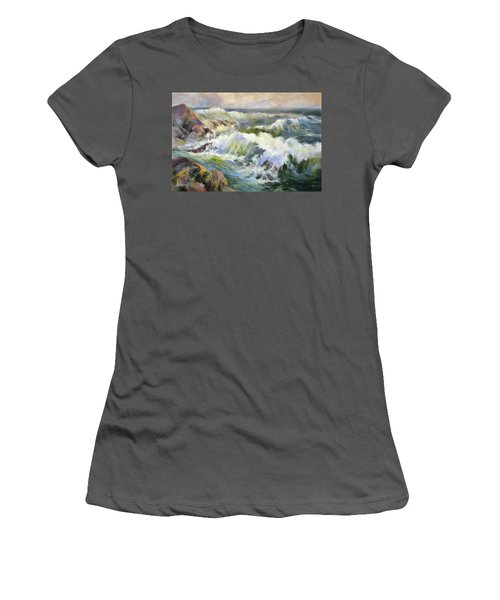 Surf Action Women's T-Shirt (Junior Cut) by Rae Andrews