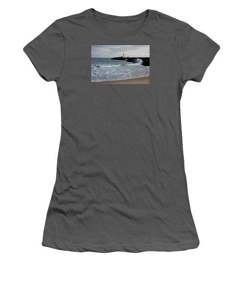 Women's T-Shirt (Junior Cut) featuring the photograph Surf Beach At Manasquan Inlet by Melinda Saminski