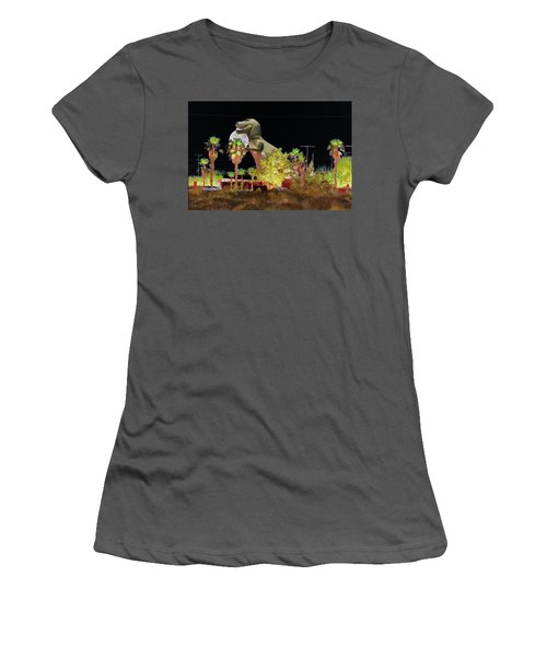 T-rex In The Desert Night Women's T-Shirt (Athletic Fit)