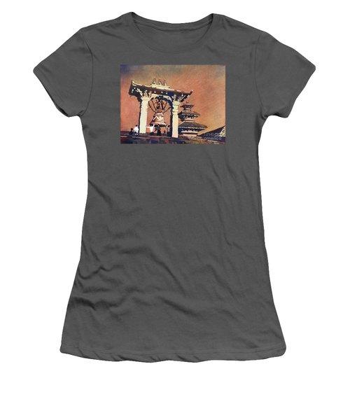 Women's T-Shirt (Junior Cut) featuring the painting Taleju Bell- Patan, Nepal by Ryan Fox