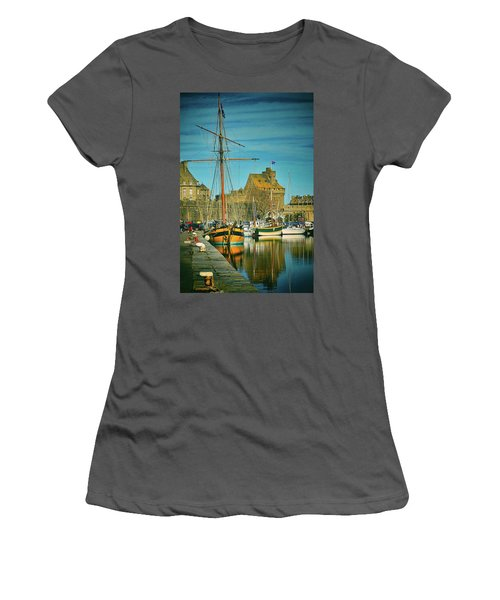 Tall Ship In Saint Malo Women's T-Shirt (Athletic Fit)