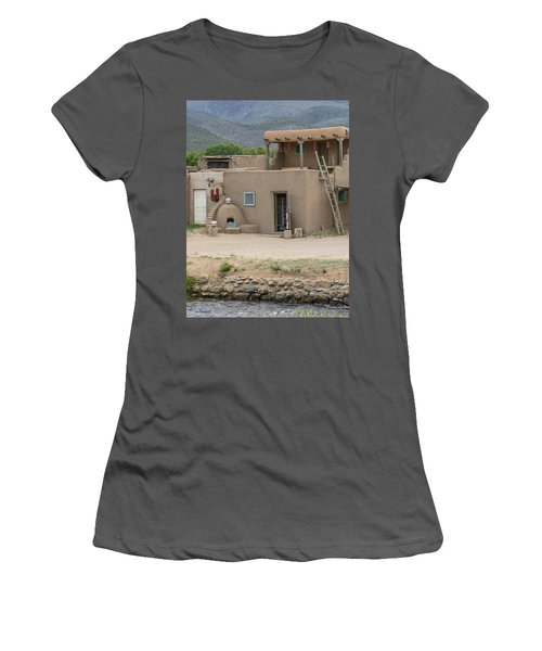 Taos Pueblo Adobe House With Pots Women's T-Shirt (Athletic Fit)