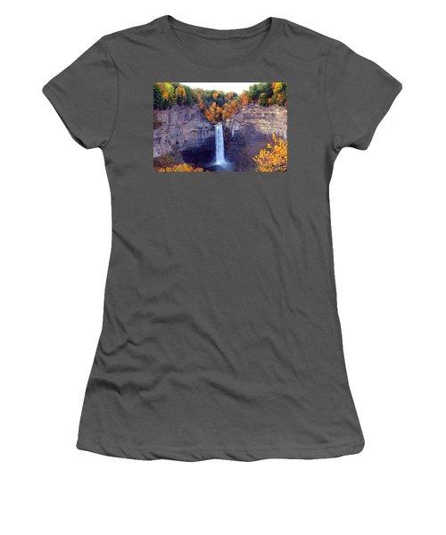 Taughannock Waterfalls In Autumn Women's T-Shirt (Junior Cut) by Paul Ge