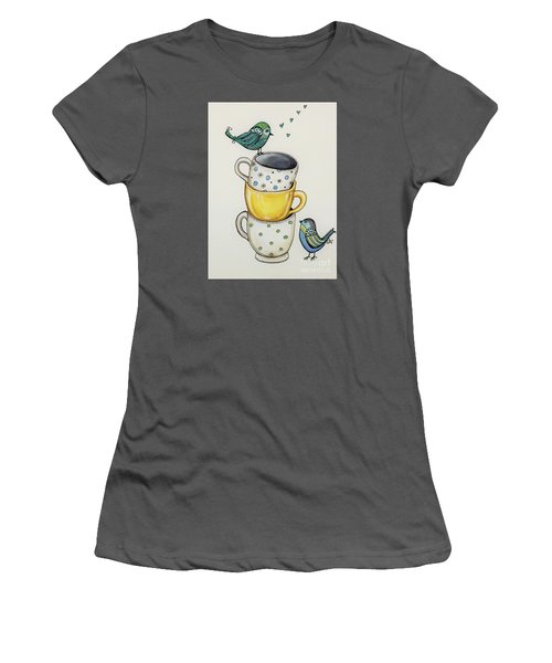 Women's T-Shirt (Junior Cut) featuring the painting Tea Time Friends by Elizabeth Robinette Tyndall