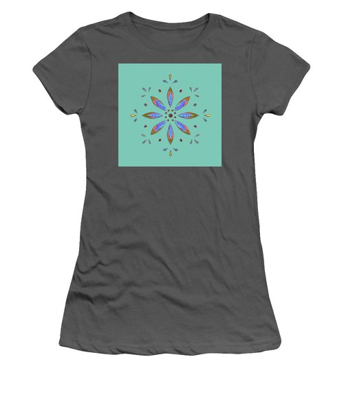 Women's T-Shirt (Athletic Fit) featuring the mixed media Teal Flower by Elizabeth Lock