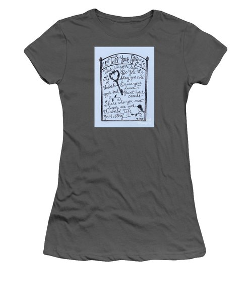 Women's T-Shirt (Junior Cut) featuring the painting Tell Your Story by Elizabeth Robinette Tyndall