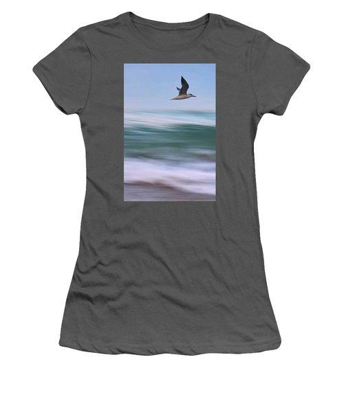 Women's T-Shirt (Junior Cut) featuring the photograph Tern Flight Vert by Laura Fasulo