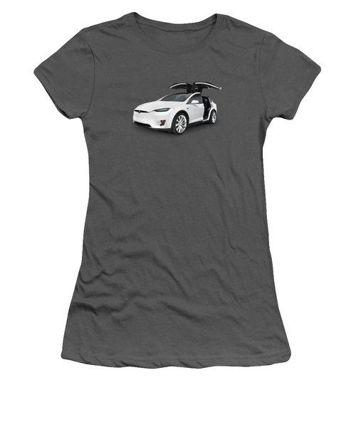 Tesla Model X Luxury Suv Electric Car With Open Falcon-wing Doors Art Photo Print Women's T-Shirt (Junior Cut) by Oleksiy Maksymenko