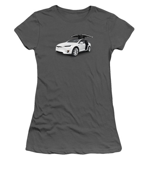 Tesla Model X Luxury Suv Electric Car With Open Falcon-wing Doors Art Photo Print Women's T-Shirt (Athletic Fit)