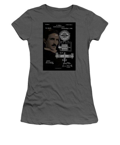 Tesla Motor Patent Drawing Women's T-Shirt (Athletic Fit)
