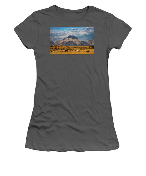 Women's T-Shirt (Athletic Fit) featuring the photograph Teton Horse Ranch by Darren White