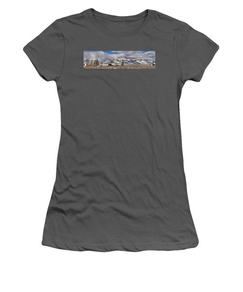 Women's T-Shirt (Junior Cut) featuring the photograph Teton Mormon Homestead Panorama by Adam Jewell