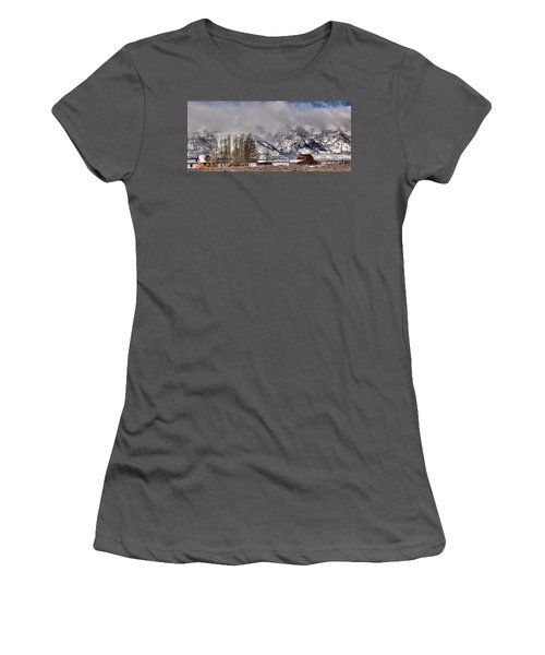Women's T-Shirt (Junior Cut) featuring the photograph Teton Mormon Row Panorama by Adam Jewell